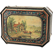 SALE Victorian Huntley Palmers English Biscuit Advertising Tin Landscape circa 1883
