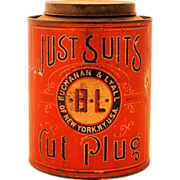 Vintage Tobacco Advertising Tin Canister Just Suits Cut Plug