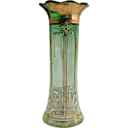 SOLD Tall Art Deco Bohemian Vase Hand Painted Enamel Flowers Beading and Geometric Design