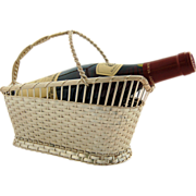 Vintage Eisenberg Lozano French Silver Plated Wine Holder Woven Basket, Made in France