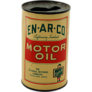 Advertising Tin Toy Coin Bank En-Ar-Co Motor Oil Can Refinery Sealed The National Refining Com