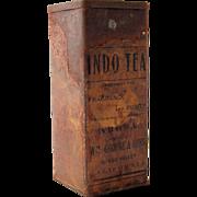 Antique Advertising Tin Canister Indo Tea Grass Valley California, circa 19th Century