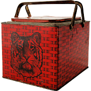 Antique Advertising Tin Tiger Bright Sweet Chewing Tobacco Red Lunch Box Store Tin Picnic Lunc