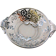 Art Deco Silver Overlay Bowl Candy Dish Strawberry Flowers Leaf Foliage Bees Decor