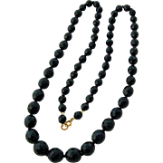 Vintage Jet Black Crystal Bead Necklace Strand Extra-long Sparkling Multi-faceted Beads