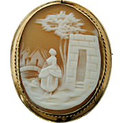 SALE Victorian Carved Shell Cameo Brooch Pin Gold Filled Frame