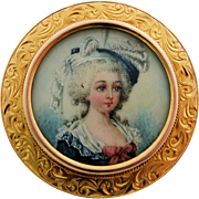 Antique Miniature Portrait Pin 14k Yellow Gold Frame 19th Century Victorian