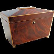 SALE Antique Wooden Tea Caddy Mahogany Walnut Inlay -  Escutcheon Lock - Sarcophagus Shape
