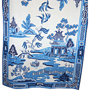 SALE Two Vintage Blue Willow Linen Kitchen Tea Towels Original Silk Screen Textile