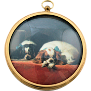 SOLD King Charles Spaniels Miniature Dog Portrait Wall Hanging Peter Bates England