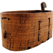 SOLD Antique 19th Century Shaker Bentwood Primitive Oval Box circa 1800s Lapped Laced Folk Art