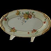 Vintage Limoges Bernardaud Riviera Small Serving Platter White Cream Red Yellow Blue Flowers F