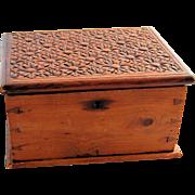 SALE PENDING Antique Hand Carved Wooden Folk Art Jewelry Box Dresser Memory Keepsake Vanity