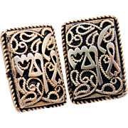 Artisan Sterling Silver Clip Earrings Paisley Rope Gadroon Engraved Design Signed OR