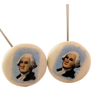 SALE Miniature Portrait of President George Washington Hat Pins Two Matching Vintage Porcelain
