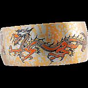 Damascene Dragon Cuff Bracelet Reed Barton Vintage Two Dragons