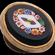 Antique Victorian Micro-mosaic Pietra Dura Gold Lapel Stud Button Micro Mosiac