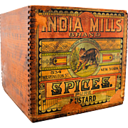 Vintage Wooden Advertising Box India Mills Brand Spices Pure Mustard Original Paper Label
