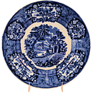 Staffordshire Flow Blue Transferware Plate Oriental Pattern by Thomas Fell Antique circa 1817-
