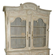 SALE Antique 18C French Country China Hutch Bookcase