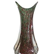 Big Vintage Murano Italian Art Glass Vase Green & Copper