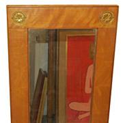 Unusual Antique Biedermeier Mirror w Bronze Details