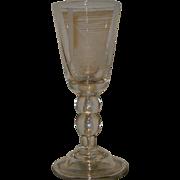 SALE Rare Steuben Dorflinger Engraved Glass Chalice w Rocket Tractor