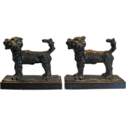 SALE Pair of Unusual Antique Cold Painted Dog Sculptures Now Bookends