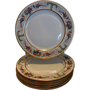 SALE Antique Hutschenreuther Porcelain Hand Painted Plate Set of 6 Birds Pheasants