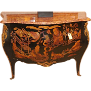 Rare Vintage Chinoiserie Bombay Commode w Marble Top & Gilt Bronze Trim
