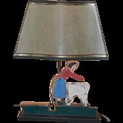 Unusual Antique Folk Art Whirligig Table Lamp