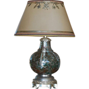 SALE Very Unusual Enamel Inlaid Cloisonné Designer Lamp w Custom Shade - India?