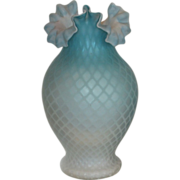 Superb Antique Blue Quilted Victorian Mother of Pearl Glass Vase