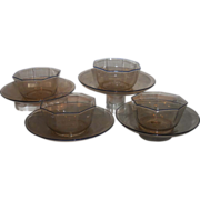 SALE Set 4 Antique Salviati Amber Venetian Glass Finger Bowls & Plates w Blue Trim