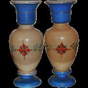 SALE Pair of Antique Hand Painted Bristol Opaline Glass Vases w Enamel Portraits