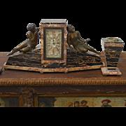 SOLD Elegant Antique Art Deco Figural Mantel Clock Set