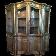 SALE Unusual Antique Silverleaf Classical China Cabinet Vitrine w Bent Glass