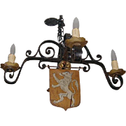SALE Antique Wrought Iron Gothic Chandelier w Lion Crest