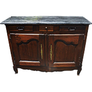 SALE Spectacular Antique 18C French Provincial Marble Top Buffet Sideboard