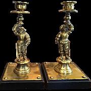 SALE Superb Pair of Antique Italian Bronze Figural Candlesticks