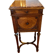 SALE Antique French Night Stand Table w Marble Top & Porcelain Interior
