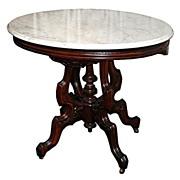 SALE 1118 American Walnut Renaissance Marble Top Antique Table