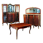 SALE 1826 3-Pc. Louis XVI Dining Suite with Ormolu Mounts, Inlay & Marble Tops