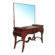 SALE 1955 Antique Neo-Classical Mirrored Mahogany Two-Drawer Vanity