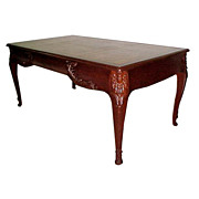 SALE 2258 French Mahogany Writing Table with Gold Tooled Leather Top.