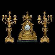 SALE 63.2617 French Dore' Bronze 3-Pc. Neoclassical Clock Set
