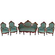 SALE 2632 Oversized 5-Pc. Rosewood Antique Parlor Suite by John Jelliff c. 1860