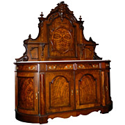 SALE 2821 Victorian Burl Walnut Antique Sideboard with Marble Top