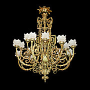 SALE 3092 French Bronze Neo-Classical Chandelier