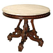 SALE 3101A Victorian Walnut Table with Fancy Base & Marble Top